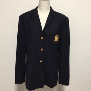 Talbots Sz 12 Navy Blazer Jacket Crest Stretch